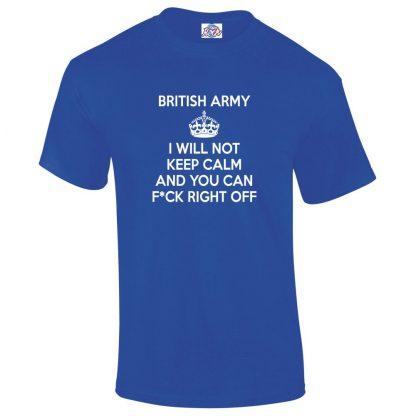 Mens ARMY KEEP CALM T-Shirt - Royal Blue, 5XL