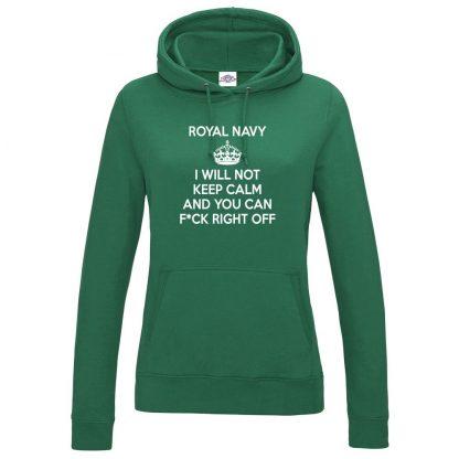 Ladies NAVY KEEP CALM Hoodie - Bottle Green, 18