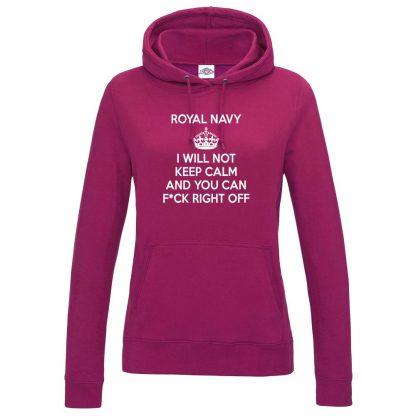 Ladies NAVY KEEP CALM Hoodie - Hot Pink, 18