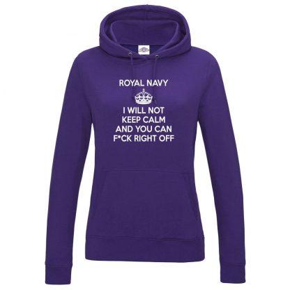 Ladies NAVY KEEP CALM Hoodie - Purple, 18