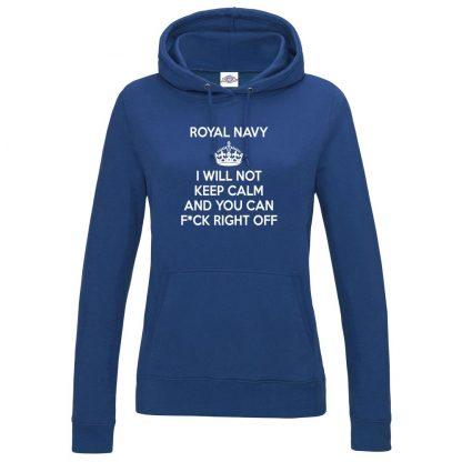 Ladies NAVY KEEP CALM Hoodie - Royal Blue, 18