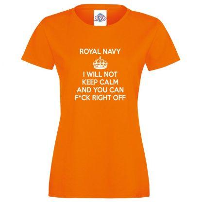 Ladies NAVY KEEP CALM T-Shirt - Orange, 18