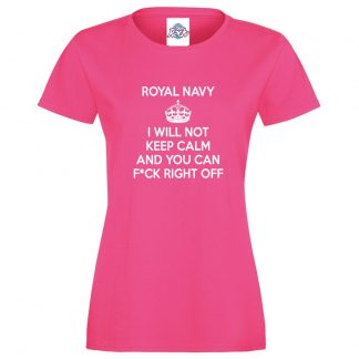 Ladies NAVY KEEP CALM T-Shirt - Pink, 18