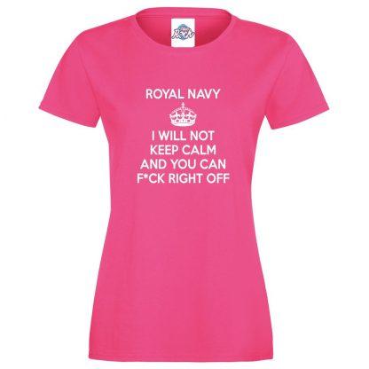 Ladies NAVY KEEP CALM T-Shirt - Pink, 18