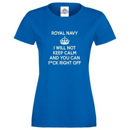 Ladies NAVY KEEP CALM T-Shirt - Royal Blue, 18