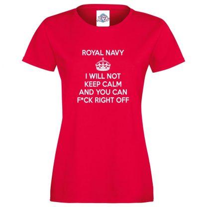 Ladies NAVY KEEP CALM T-Shirt - Red, 18