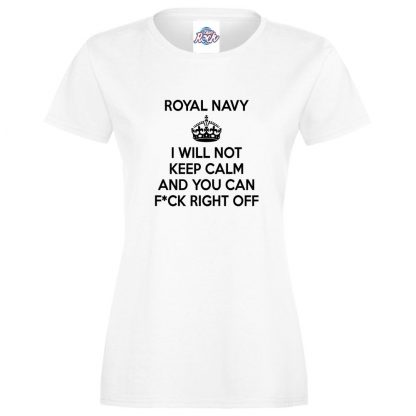 Ladies NAVY KEEP CALM T-Shirt - White, 18