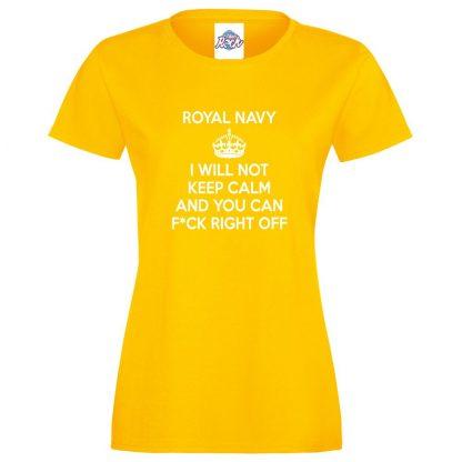 Ladies NAVY KEEP CALM T-Shirt - Yellow, 18