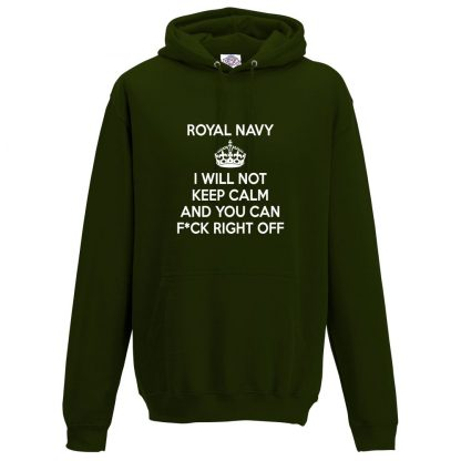 Mens NAVY KEEP CALM Hoodie - Forest Green, 2XL