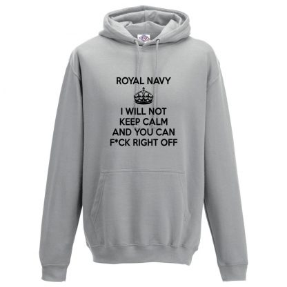 Mens NAVY KEEP CALM Hoodie - Charcoal, 2XL