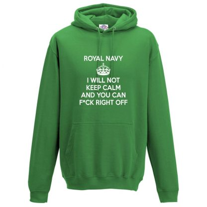 Mens NAVY KEEP CALM Hoodie - Kelly Green, 2XL