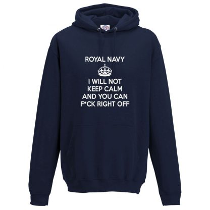 Mens NAVY KEEP CALM Hoodie - Navy, 5XL