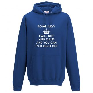 Mens NAVY KEEP CALM Hoodie - Royal Blue, 3XL