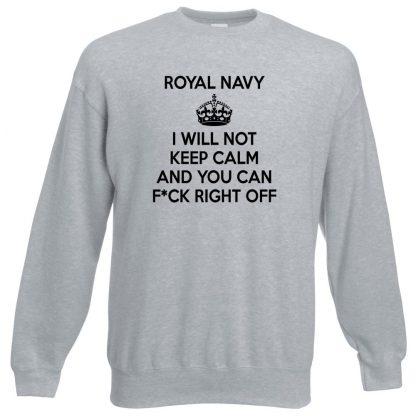 NAVY KEEP CALM Sweatshirt - Grey, 3XL