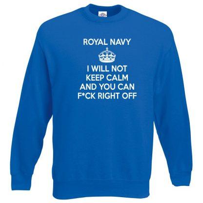NAVY KEEP CALM Sweatshirt - Royal Blue, 2XL