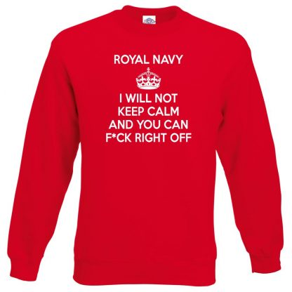 NAVY KEEP CALM Sweatshirt - Red, 2XL