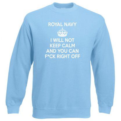 NAVY KEEP CALM Sweatshirt - Sky Blue, 2XL