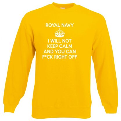 NAVY KEEP CALM Sweatshirt - Yellow, 2XL