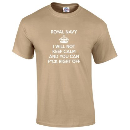 Mens NAVY KEEP CALM T-Shirt - Desert, 2XL