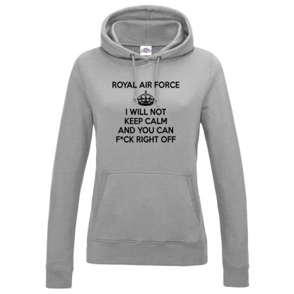 Ladies RAF KEEP CALM Hoodie - Grey, 18