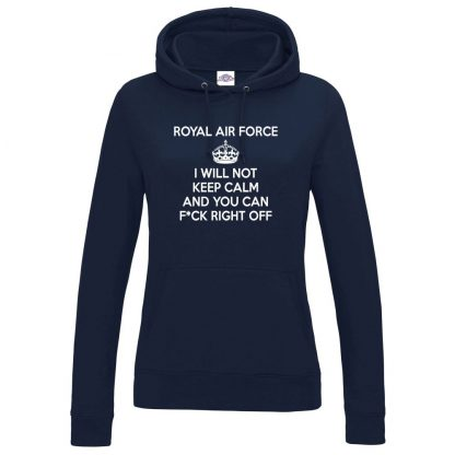 Ladies RAF KEEP CALM Hoodie - Navy, 18