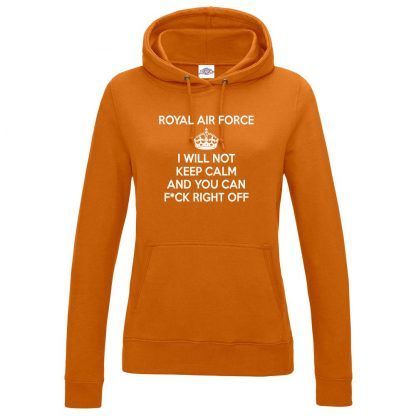 Ladies RAF KEEP CALM Hoodie - Orange, 18