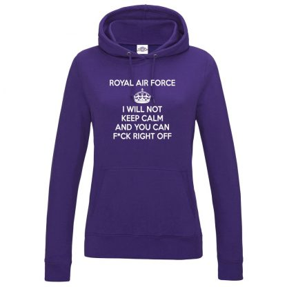 Ladies RAF KEEP CALM Hoodie - Purple, 18