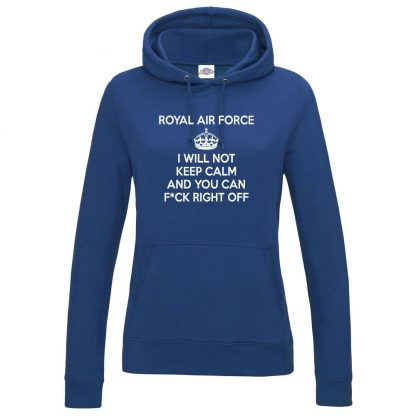 Ladies RAF KEEP CALM Hoodie - Royal Blue, 18