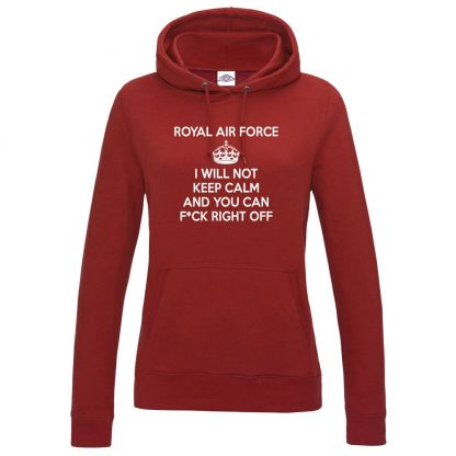 Ladies RAF KEEP CALM Hoodie - Red, 18