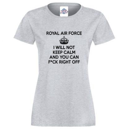 Ladies RAF KEEP CALM T-Shirt - Heather Grey, 18
