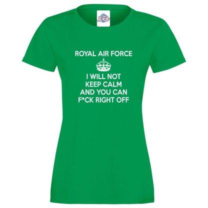 Ladies RAF KEEP CALM T-Shirt - Kelly Green, 18