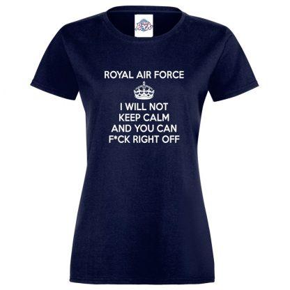 Ladies RAF KEEP CALM T-Shirt - Navy, 18