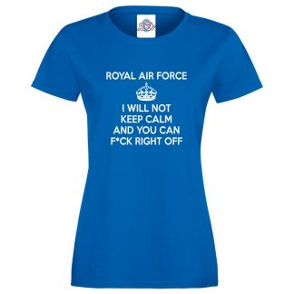 Ladies RAF KEEP CALM T-Shirt - Royal Blue, 18