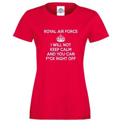 Ladies RAF KEEP CALM T-Shirt - Red, 18