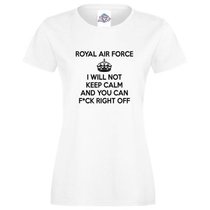 Ladies RAF KEEP CALM T-Shirt - White, 18