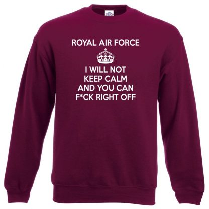 RAF KEEP CALM Sweatshirt - Maroon, 2XL