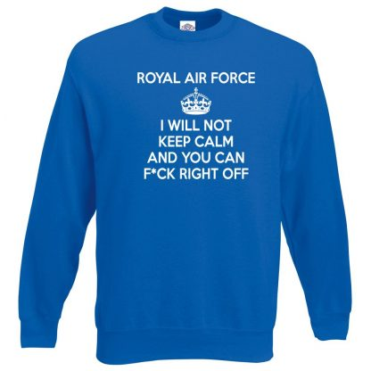 RAF KEEP CALM Sweatshirt - Royal Blue, 2XL